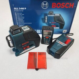 Нивелир Bosch GLL 3-80P, приёмник  Bosch LR2, дальномер Bosch DLE 50